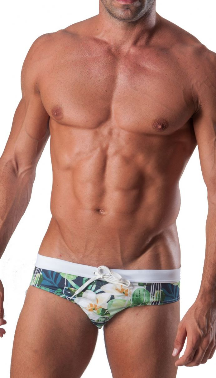 Geronimo Mens Swimwear Square Cut Boxer Trunks Floral Green 15041.
